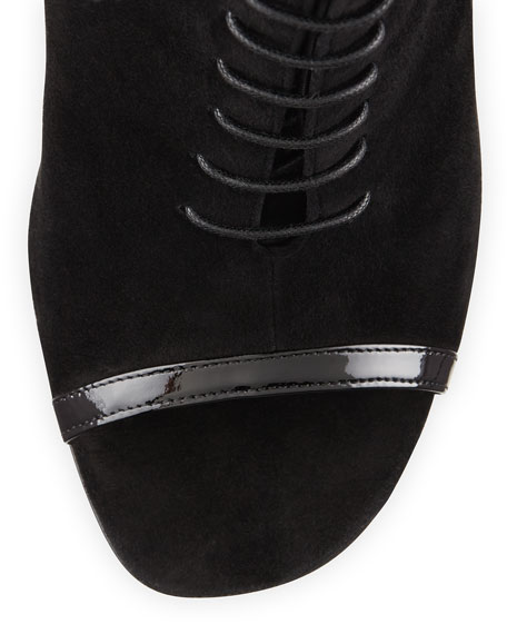 Suede Peep-Toe Lace-Up Boot