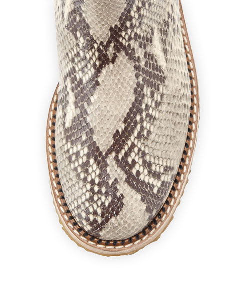 Python-Embossed Ankle Boot, Natural