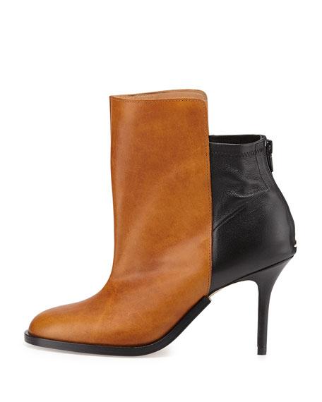 Bicolor Stretch-Back Ankle Boot, Caramel/Black