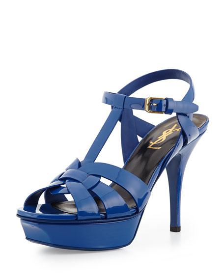 232ea9f28f9 Saint Laurent Tribute Mid-Heel Leather Platform Sandal, Blue Majorelle