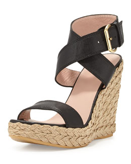 Stuart Weitzman X-Ray Woven Crisscross Wedge, Black