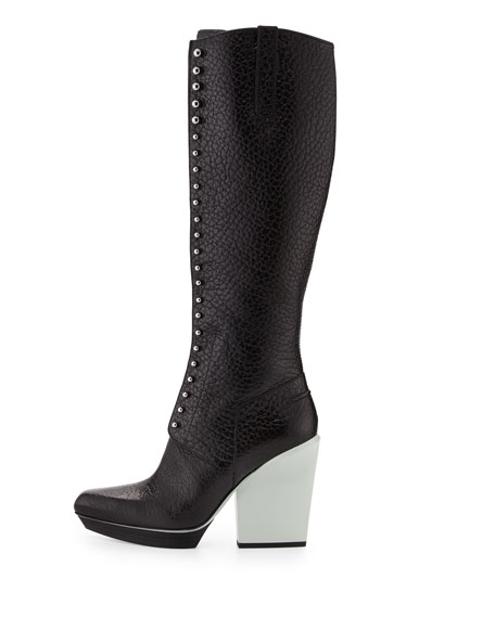 Runway Juno Lace-Up Leather Knee Boot, Black