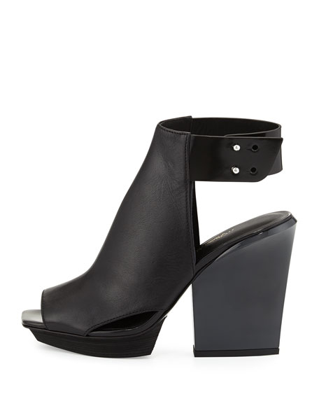 Runway Juno High-Vamp Leather Sandal, Black