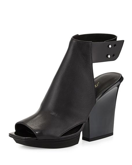 Runway Juno High-Vamp Leather Sandal, Black