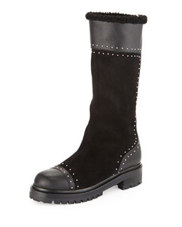 Alexander McQueen Studded Mid-Calf Shearling Fur-Lined Boot, Black