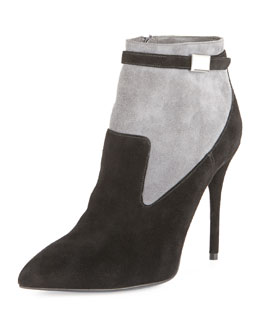 Alexander McQueen Suede Point-Toe Ankle Bootie, Black/Gray