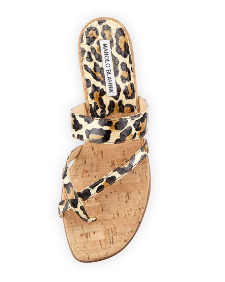 Leopard Print Mix Flat Sandals Image Alternatetext