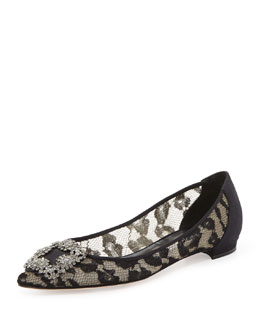 Manolo Blahnik Hangisi Crystal-Buckle Lace Flat
