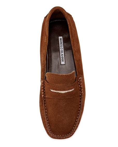 Terry-Trimmed Suede Driver, Dark Brown/Sand