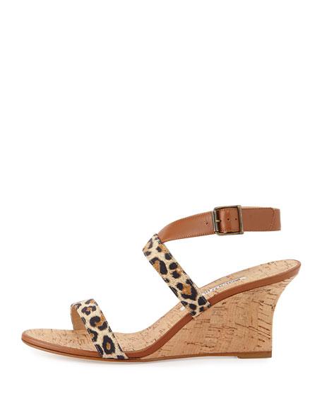 Sales Crisscross Leopard-Print Leather Cork Wedge