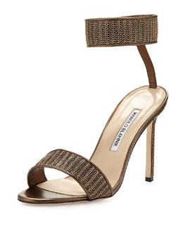 Roccmet Chain Ankle-Wrap Sandal, Bronze