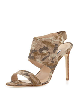Manolo Blahnik Loyal Linen Canvas Sandal, Camo