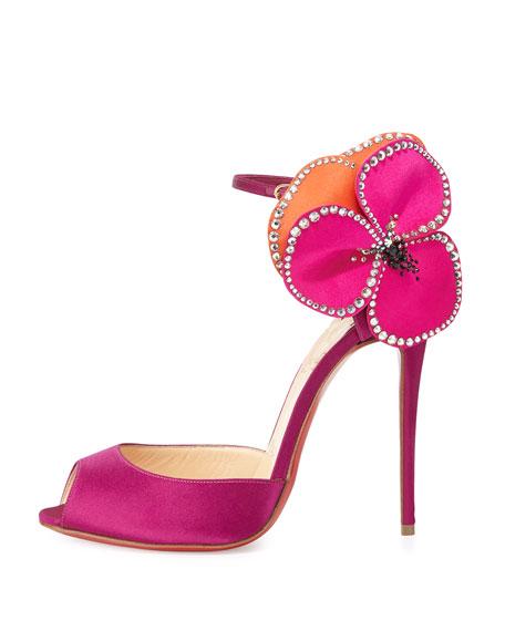 Pensamoi Satin Rose Red Sole Sandal, Pink