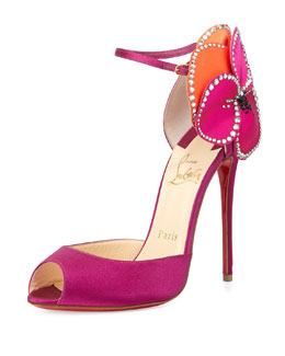 Christian Louboutin Pensamoi Satin Rose Red Sole Sandal, Pink