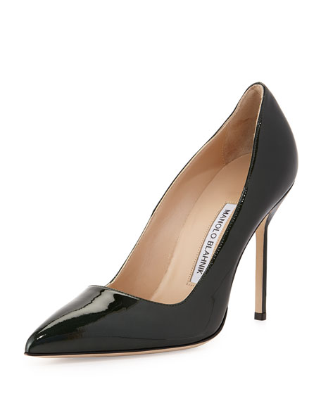 BB Metallic Patent Leather Pointy Toe Pump, Dark Green