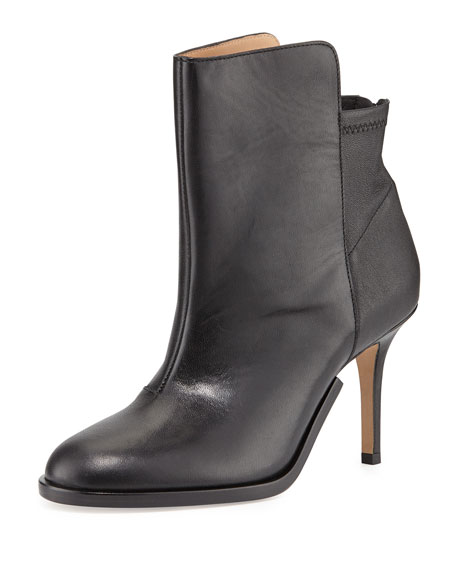 Stretch-Back Leather Ankle Boot, Black