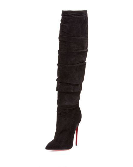 cheap for discount a711e a38b6 Ishtar Botta Ruched Suede Red Sole Boot