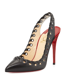 Christian Louboutin Ostri Grommet Slingback Red Sole Pump