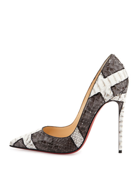 So Kate Python Red Sole Pump, Gray/White