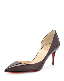 Christian Louboutin Iriza Patent Red-Sole Half-d'Orsay Pump, Burgundy