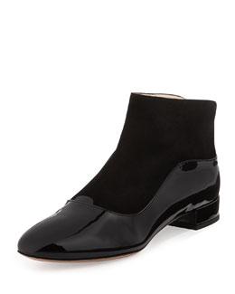 Giorgio Armani Patent/Suede Ankle Boot, Black