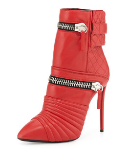 Giuseppe Zanotti Quilted Leather Double-Zip Boot, Red