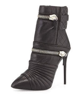 Giuseppe Zanotti Quilted Leather Double-Zip Boot, Nero
