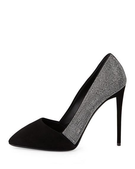Crystal Embellished Pointed-Toe Pump, Black