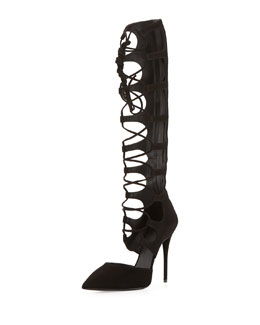 Giuseppe Zanotti Pointy-Toe Lace-Up Knee-High Pump, Black