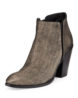 Giuseppe Zanotti Metallic Textured Ankle Boot, Black/Gold