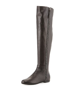 Giuseppe Zanotti Side-Zip Napa Leather Knee Boot, Black