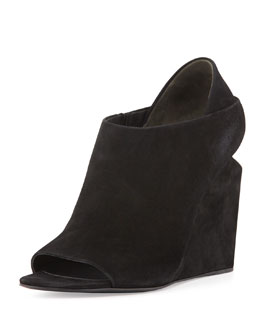 Alexander Wang Alla Suede Peep-Toe Lift-Heel Wedge, Black