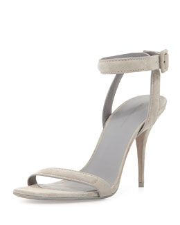 Alexander Wang Antonia Suede Ankle-Wrap Sandal, Oyster