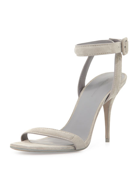 Antonia Suede Ankle-Wrap Sandal, Oyster