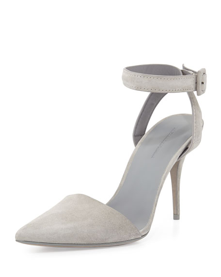 Lovisa Suede Ankle-Wrap Pump, Oyster