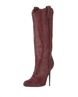 Tom Ford Calf Hair Mid-Calf Western-Cut Stiletto Boot, Wine/Gunmetal