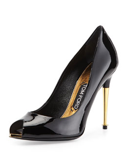 V-Cut Peep-Toe Patent Pump, Black