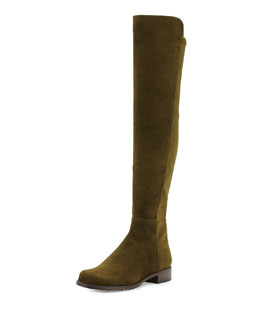 Stuart Weitzman 50/50 Suede Over-the-Knee Boot, Olive (Made to Order)
