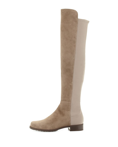 50/50 Suede Over-the-Knee Boot, Praline