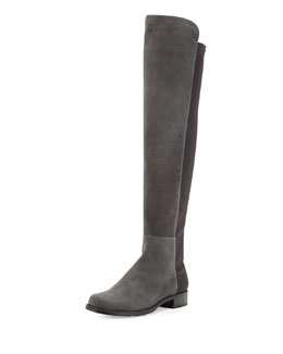 Stuart Weitzman 50/50 Suede Over-the-Knee Boot, Smoke (Made to Order)