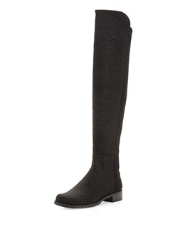 Stuart Weitzman 50/50 Pindot Over-the-Knee Boot, Black (Made to Order)