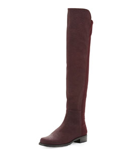 Stuart Weitzman 50/50 Pindot Over-the-Knee Boot, Bordeaux (Made to Order)