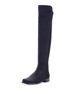 Stuart Weitzman 50/50 Pindot Over-the-Knee Boot, Nice Blue (Made to Order)