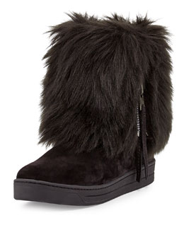 Prada Linea Rossa Faux-Furry Fold-Over Ankle Boot, Nero