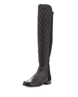 Stuart Weitzman Quiltboot 50/50 Over-the-Knee Boot, Black (Made to Order)