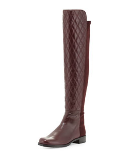 Stuart Weitzman Quiltboot 50/50 Over-the-Knee Boot, Bordeaux (Made to Order)