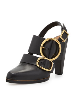 Chloe Triple Buckle Leather Slingback, Black