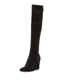Stuart Weitzman Demivoom Suede/Stretch Wedge Boot, Black