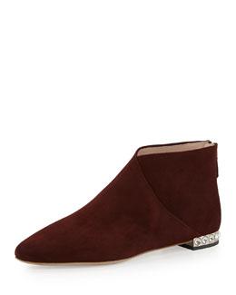 Miu Miu Crystal-Heel Flat Ankle Boot, Amaranto