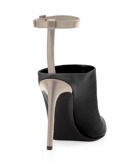 Armon Ankle-Strap Mule, Black/Woodsmoke